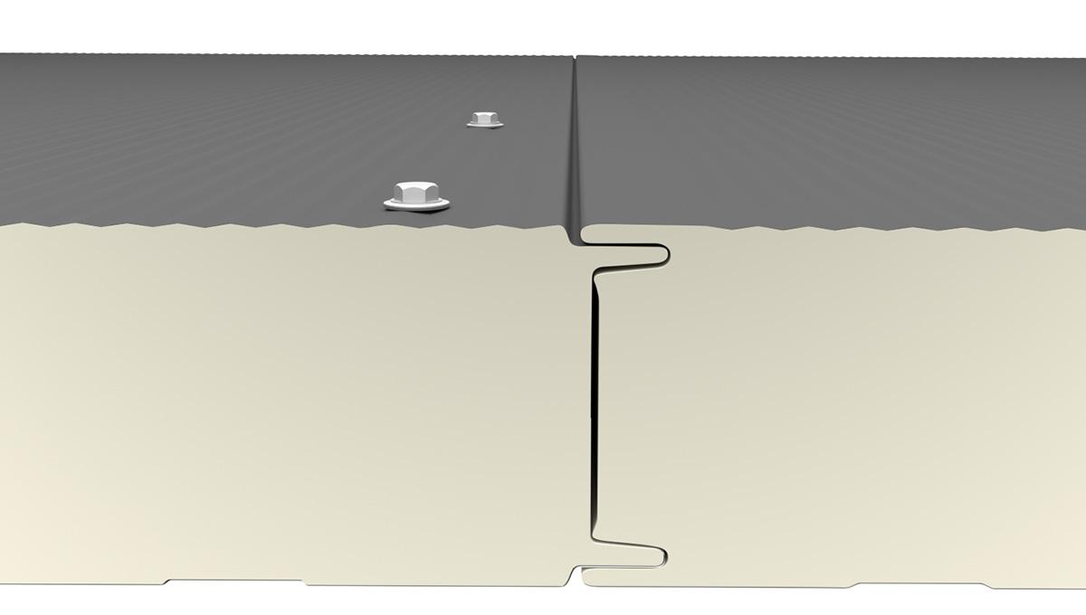 Ansicht Verschraubung Sandwichplatten mit sichtbarer Verschraubung